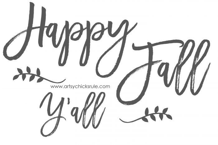 Happy Fall Y'all FREE Printable - artsychicksrule.com #freeprintable #fallquotes #fallsayings