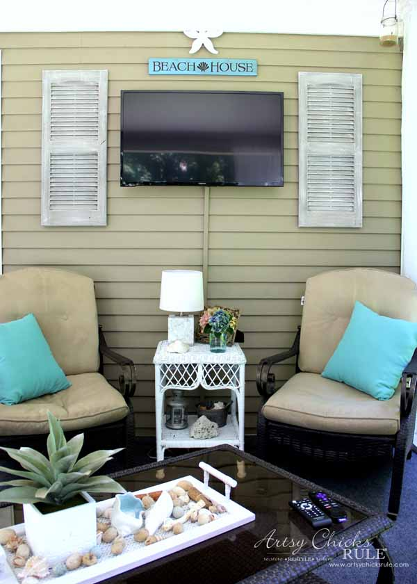 Screened Porch & Patio Makeover - TV and weathered shutters - artsychicksrule #popularpins #patiomakeover #porch