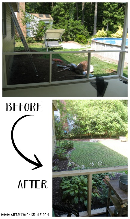 Screened Porch & Patio Makeover - bef and aft - artsychicksrule #popularpins #patiomakeover #porch