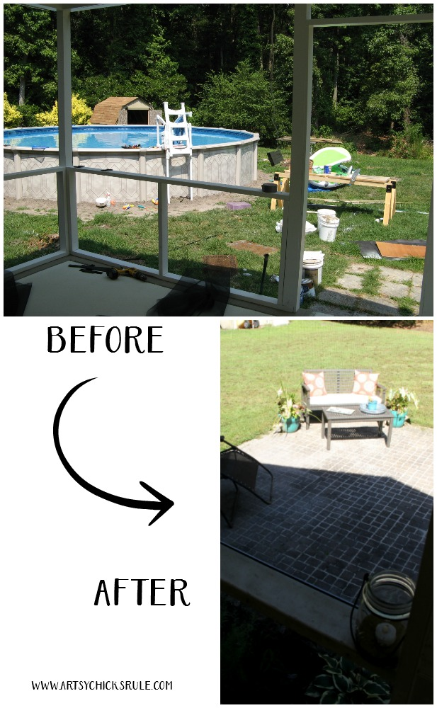 Screened Porch & Patio Makeover - before and after - artsychicksrule #popularpins #patiomakeover #porch