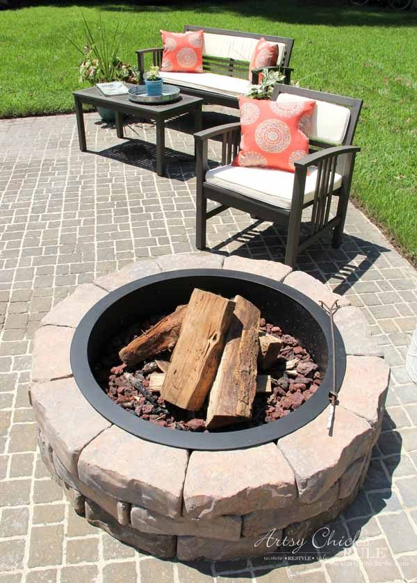 Screened Porch & Patio Makeover - diy firepit - artsychicksrule #popularpins #patiomakeover #porch
