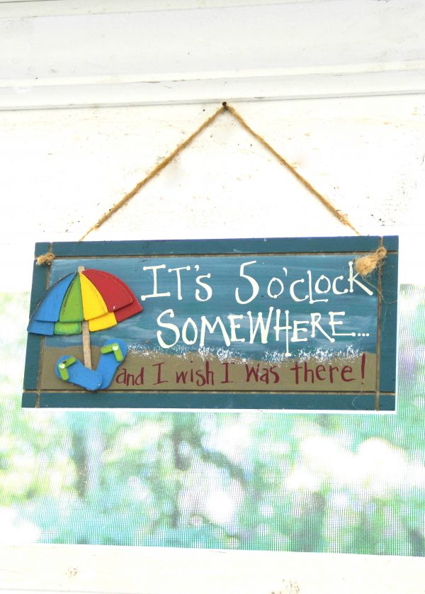 Screened Porch & Patio Makeover - five oclock sign - artsychicksrule #popularpins #patiomakeover #porch