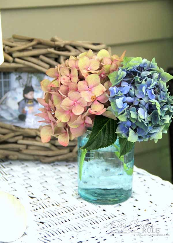 Screened Porch & Patio Makeover - hydrangeas from my garden - artsychicksrule #popularpins #patiomakeover #porch