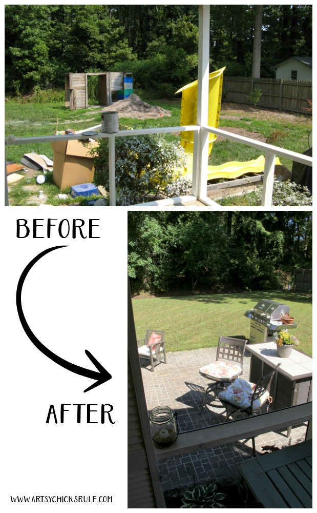 Screened Porch & Patio Makeover - then and now - artsychicksrule #popularpins #patiomakeover #porch