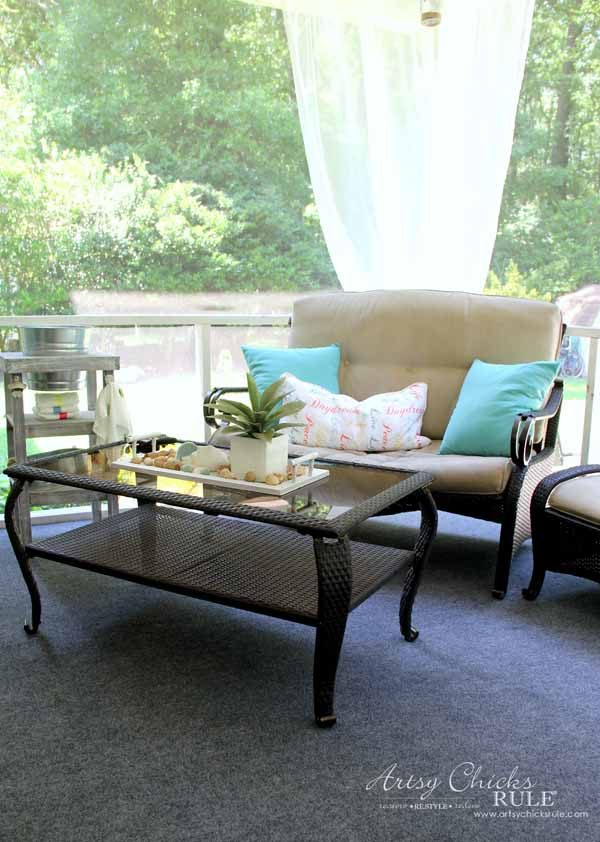Screened Porch & Patio Makeover - yard sale furniture - artsychicksrule #popularpins #patiomakeover #porch