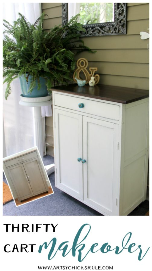 Thrifty Cart Makeover (again!) - a RE makeover before and after- artsychicksrule #furnituremakeovers #chalkpaintedfurniture