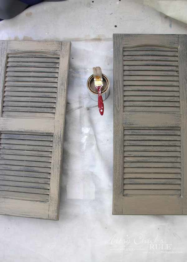 Thrifty Porch Decor - Turning into Weathered Shutters with Coco Chalk paint - artsychicksrule.com