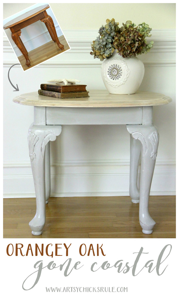 Coastal Styled Table with General Finishes Chalk Style Paint - EASY MAKEOVER!!- artsychicksrule.com #chalkstylepaint #generalfinishes