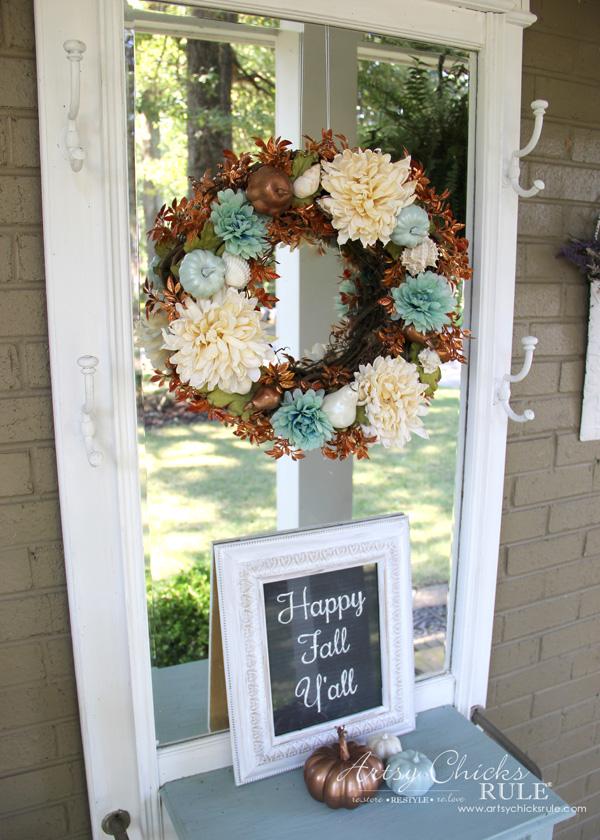 Coastal Fall Wreath - Happy Fall Yall - artsychicksrule.com #fallwreath #coastalfallwreath