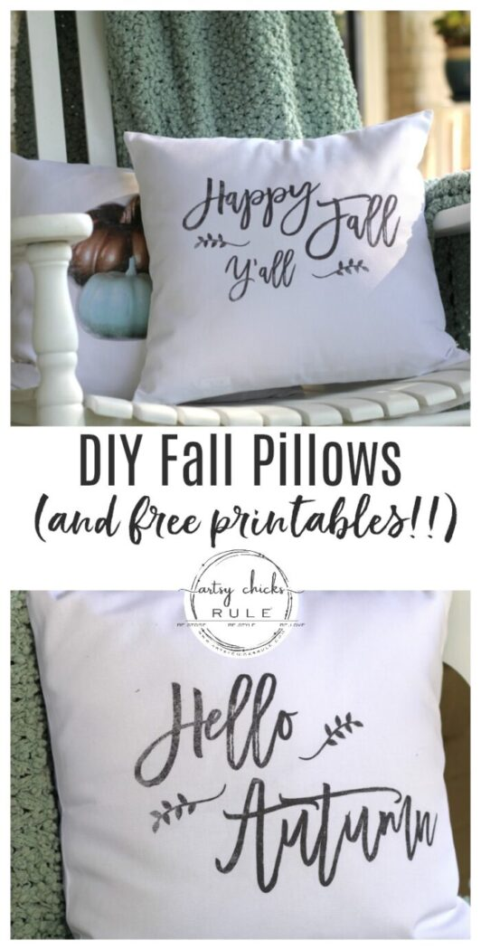 DIY Fall Pillows and Free Printables - Happy Fall Y'all - artsychicksrule.com #freeprintables #fallpillow #fallsayings