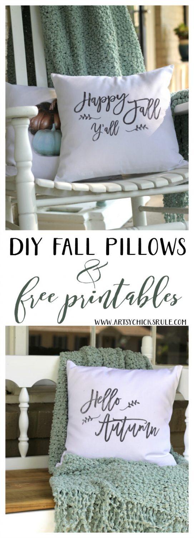 LOVE these DIY Fall Pillows and FREE printables too! artsychicksrule.com #freeprintables #fallpillow #fallsayings #happyfallyall