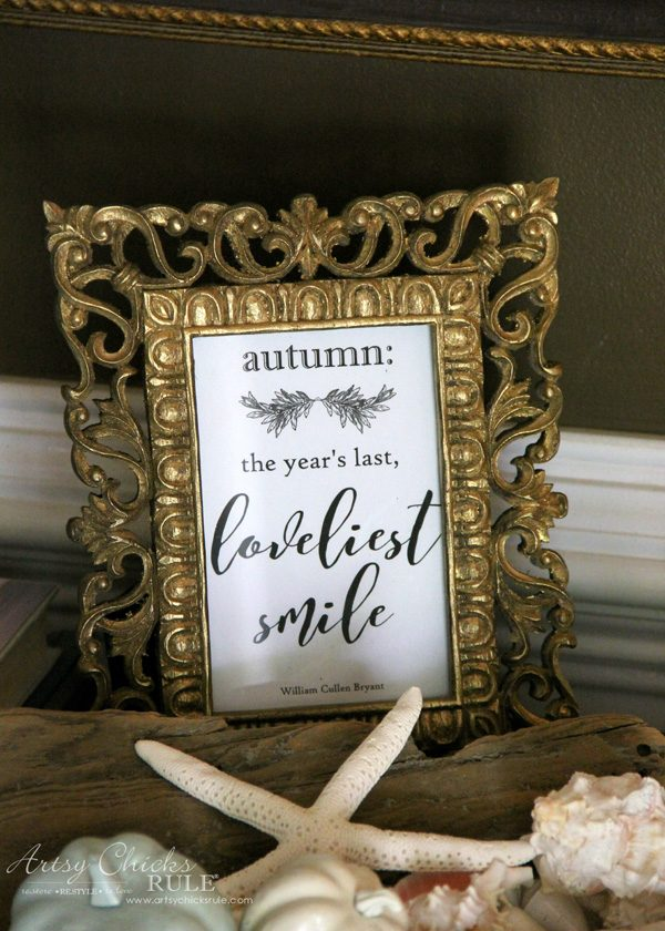 autumn fall quote in frame