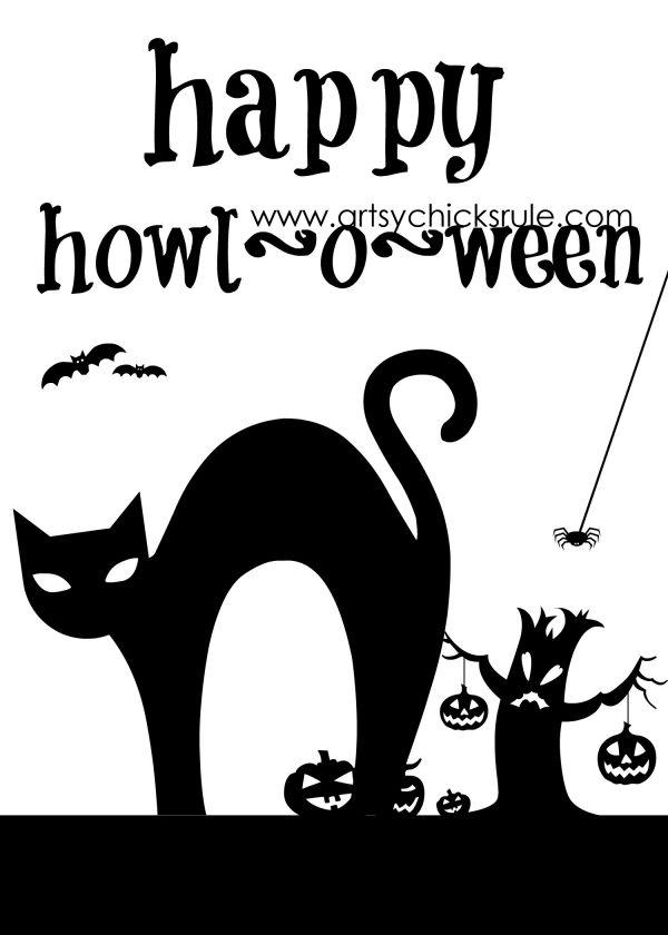 Happy Howl-o-ween Printable - artsychicksrule.com - #freeprintable #halloweenrprintable #halloweensign