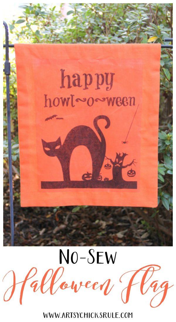 DIY Halloween Flag - artsychicksrule.com - #freeprintable #halloweenrprintable #halloweensign