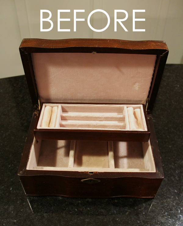 Jewelry Box Repurposed into Writing Box - Before inside - artsychicksrule.com #writingbox #silhouette #jewelryboxrepurposed
