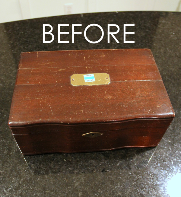 Jewelry Box Repurposed into Writing Box - Before - artsychicksrule.com #writingbox #silhouette #jewelryboxrepurposed
