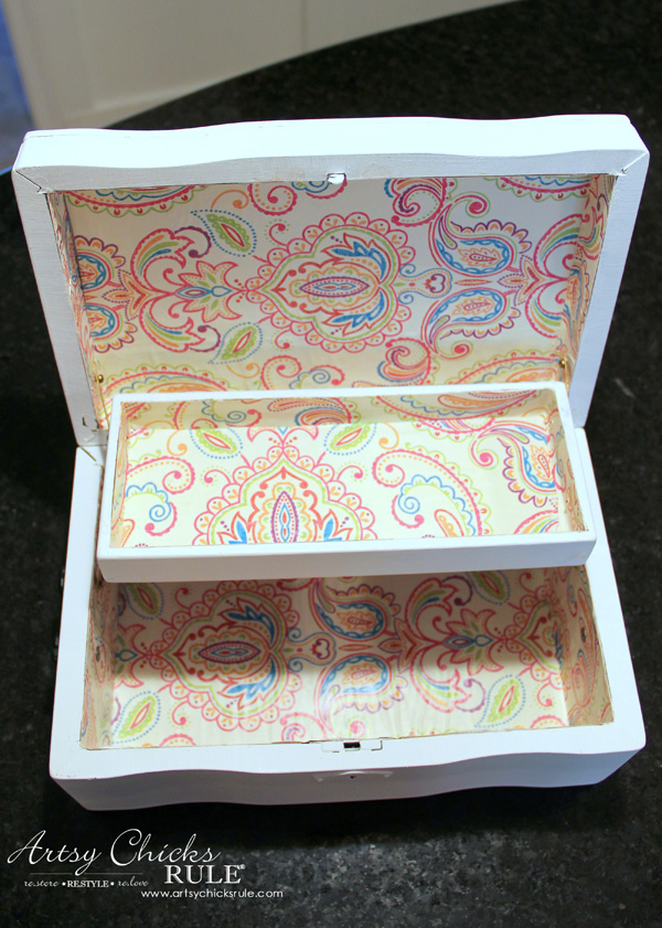 Jewelry Box Repurposed into Writing Box - paper lined - artsychicksrule.com #writingbox #silhouette #jewelryboxrepurposed