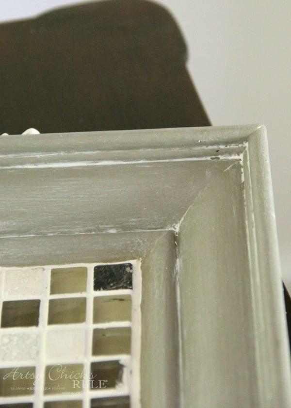 Old Frame Turned DIY Tiled Tray - up close of White Wax - artsychicksrule.com #diytiledtray #tiledtray