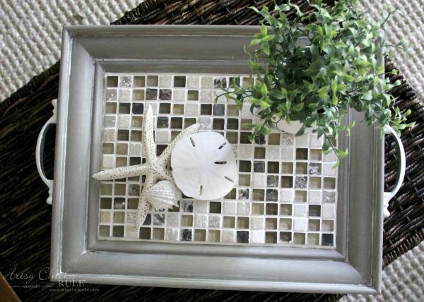Old Frame Turned DIY Tiled Tray - EASY DIY - artsychicksrule.com #diytiledtray #tiledtray