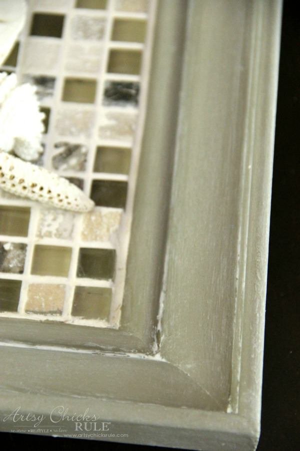 Old Frame Turned DIY Tiled Tray - white wax - artsychicksrule.com #diytiledtray #tiledtray