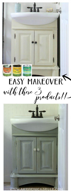 Such an EASY makeover!! Bath Cabinet Makeover artsyhchicksrule.com