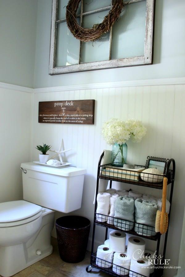 Coastal Farmhouse Bath Reveal - artsychicksrule.com