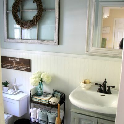 Coastal Farmhouse Bath Reveal (all the makeover details!)