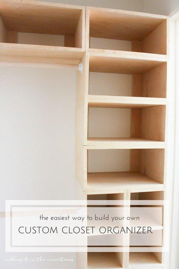 A custom built wooden closet organizer.