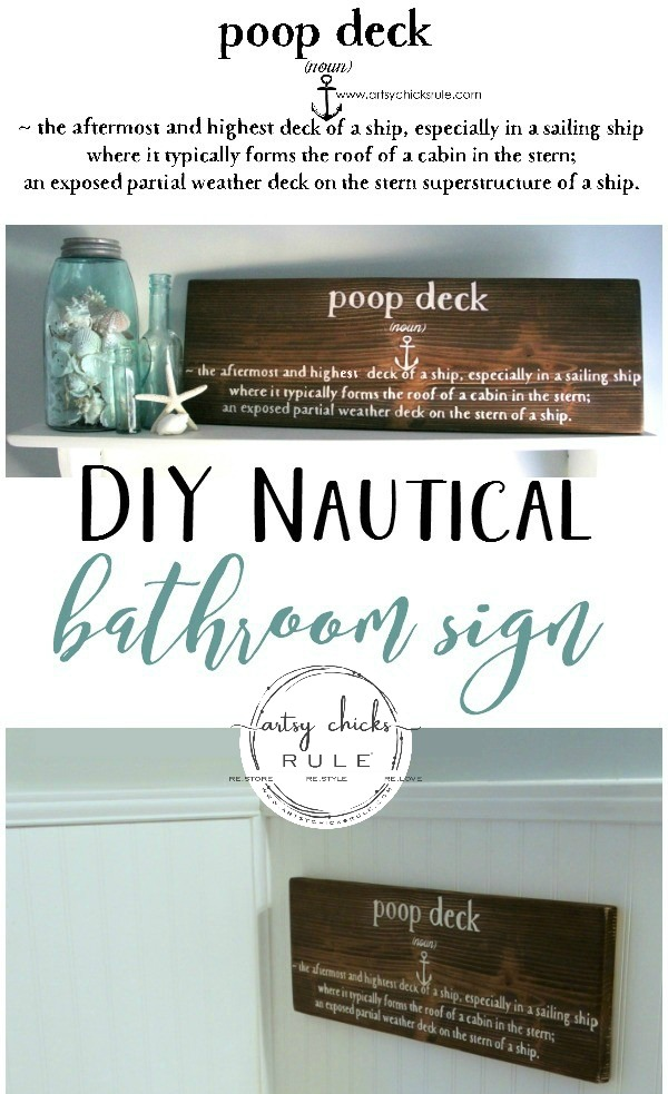 Everyone needs this!! DIY Nautical Bathroom Sign - #PoopDeckSign - #SilhouetteCameo - artsychicksrule.com #diybathsign #nauticalbathsign
