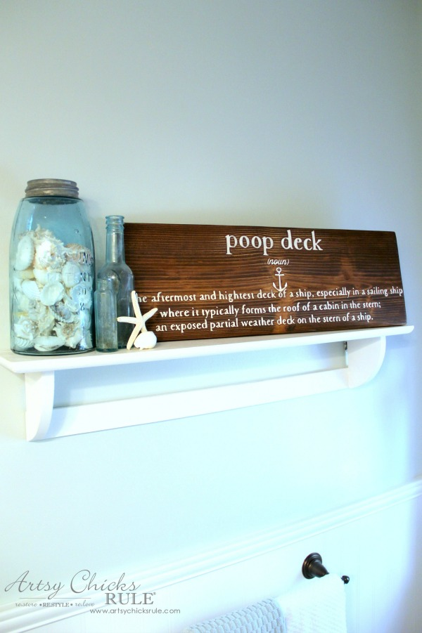 DIY Nautical Bathroom Sign - Poop Deck Sign - Silhouette Cameo - artsychicksrule.com