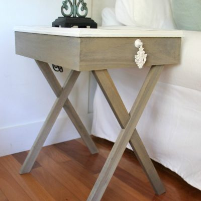 DIY Tiled Frame Criss Cross End Tables