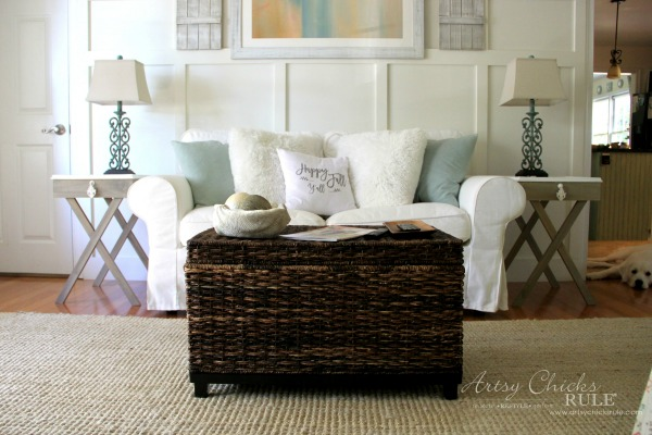 DIY Tiled Frame Criss Cross End Tables Coastal Family Room artsychicksrule.com