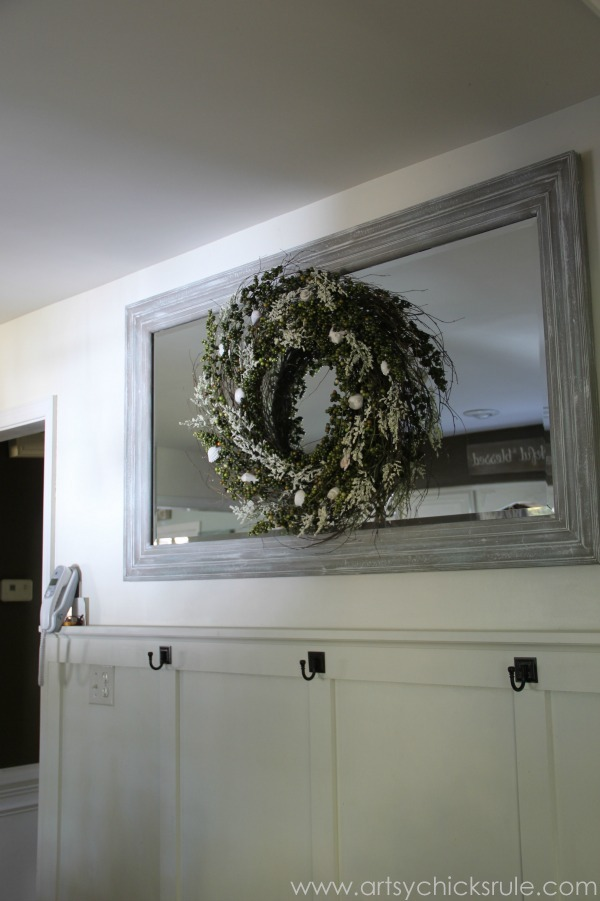 DIY Weathered Wood Look with Paint and Green Berry Wreath -artsyhchicksrule.com