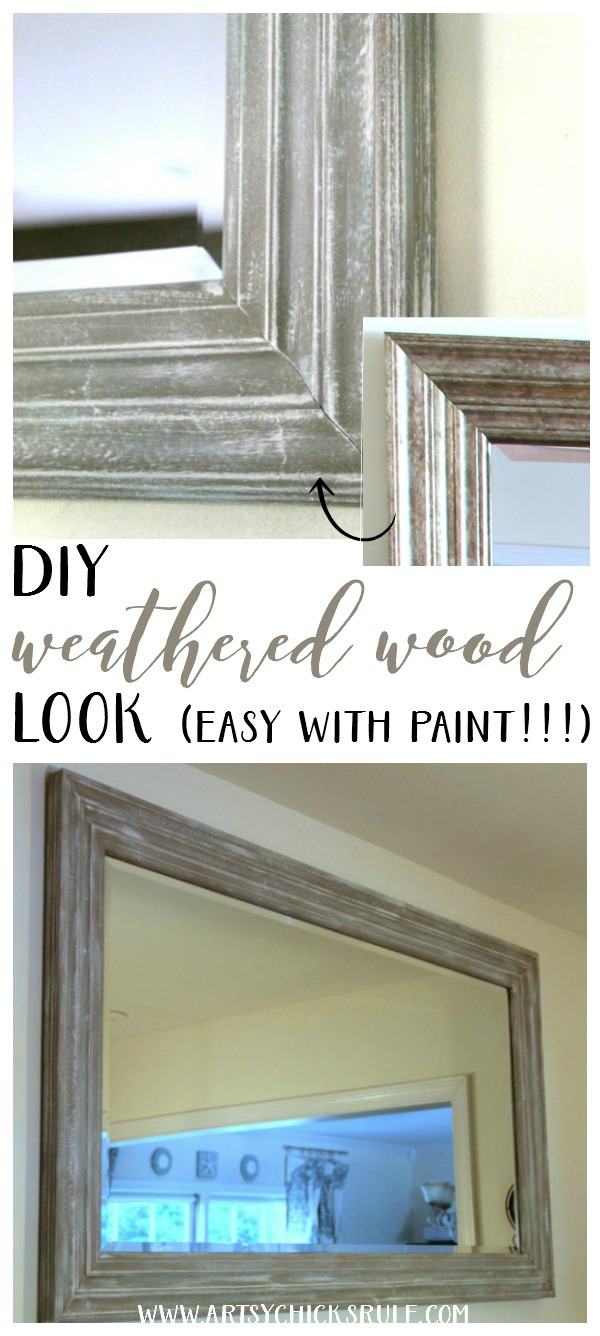 SO SIMPLE!! DIY Weathered Wood Look with Paint artsychicksrule.com #fauxweatheredwood #diyweatheredwood