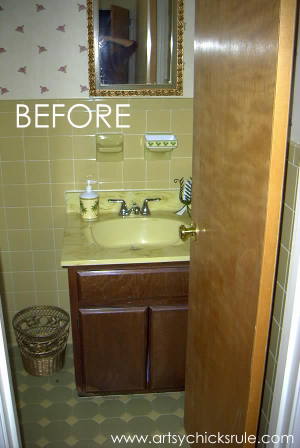 Bath Cabinet Makeover -BEFORE- artsychicksrule.com