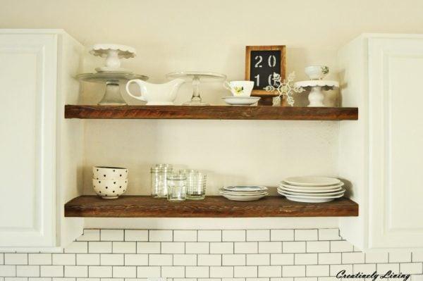 Rustic open wooden shelves.