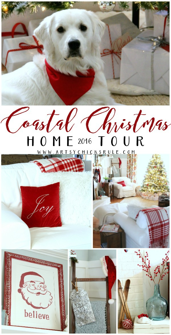 Lots of Budget Friendly Ideas!! Coastal Christmas Home Tour 2016 artsychicksrule.com