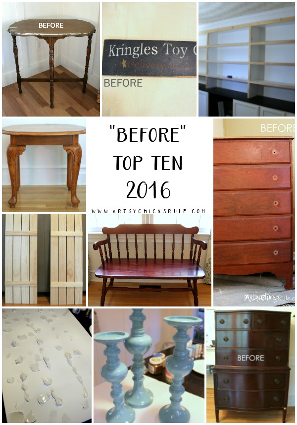 "Hard to believe!! These are the ""BEFORE"" photos of my very TOP TEN Projects of 2016!! www.artsychicksrule.com"