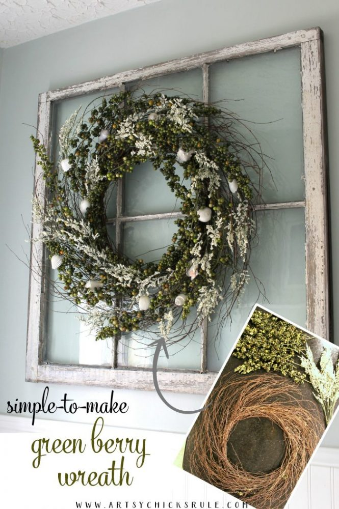 Make your own green berry wreath for cheap! So easy too! PIN for pinterest