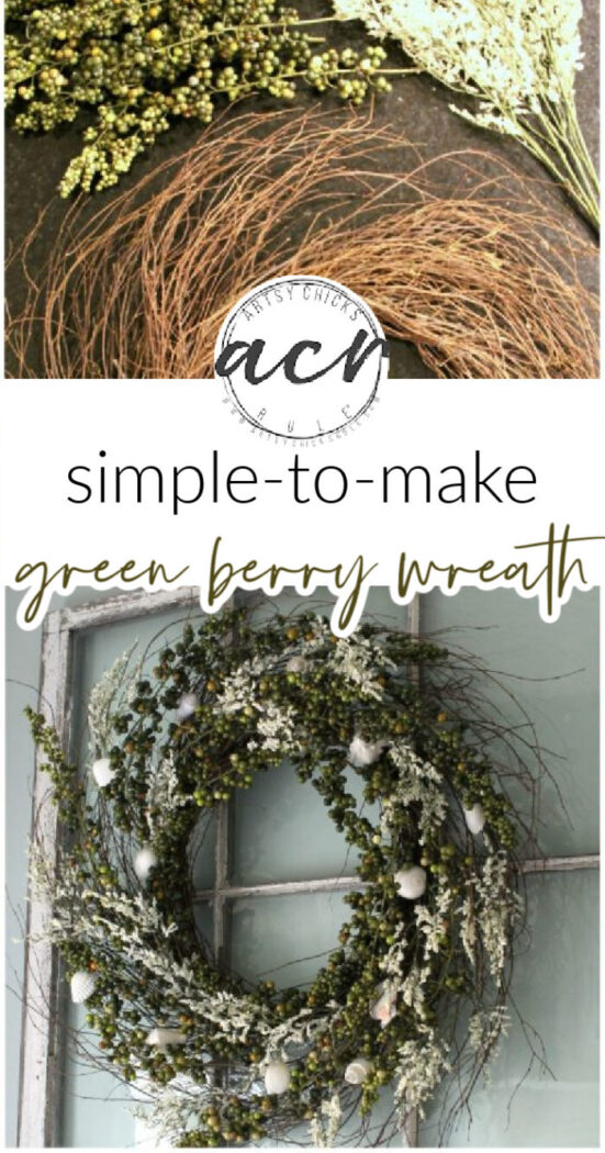 Make your own green berry wreath for cheap! So easy too!