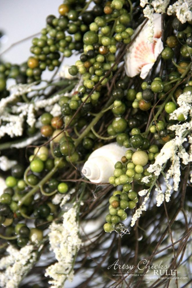 close up of shells in wreath