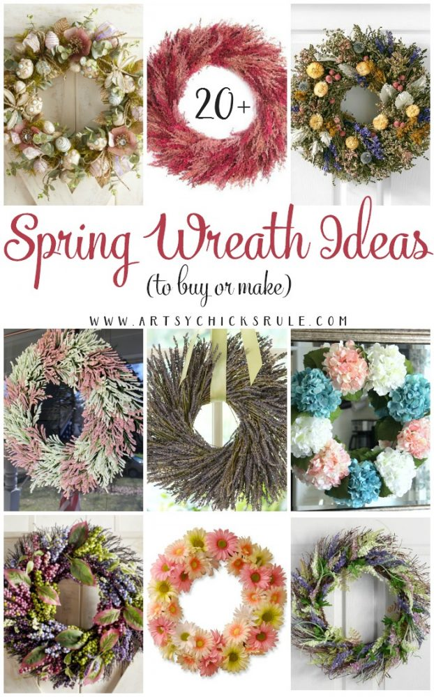 20+ Spring Wreath Ideas (to buy OR make!!!) Lots of INSPIRATION! artsychicksrule.com