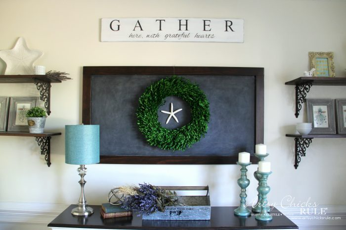 DIY Farmhouse Gather Sign PLUS a SIMPLE Transfer & Paint Method!! artsychicksrule.com