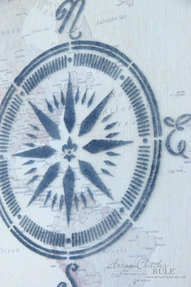 Easy DIY--> Wall Map & Nautical Compass Stencil, Repurposed $4 Thrifty Find artsychicksrule.com