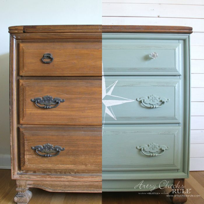 What a difference! $20 ReStore Compass Rose Dresser Makeover!! artsychicksrule.com #compassrose #compassrosedresser #chalkpaintedfurniture
