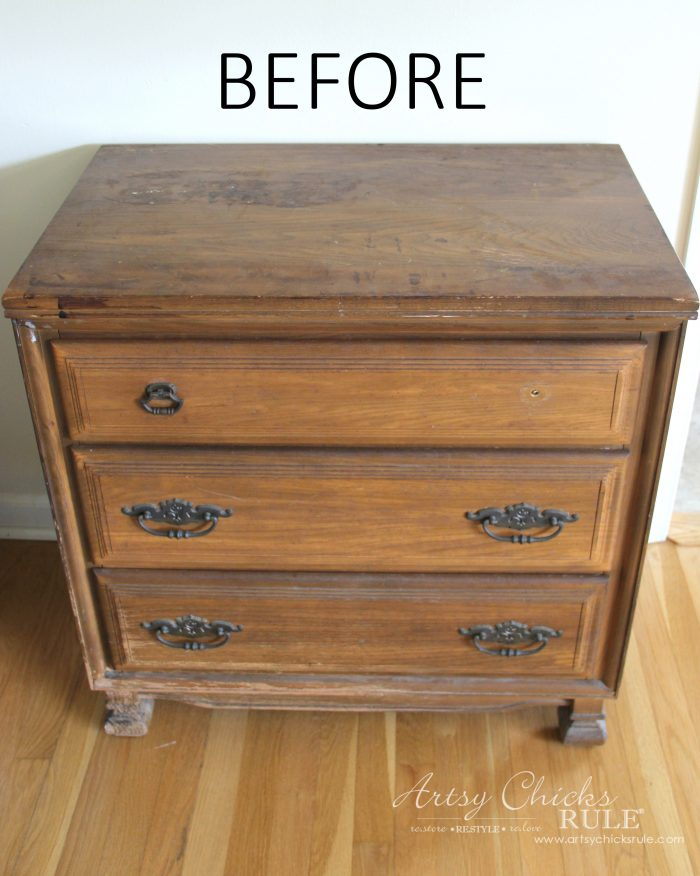 $20 ReStore Compass Rose Dresser Makeover (simple to do!)
