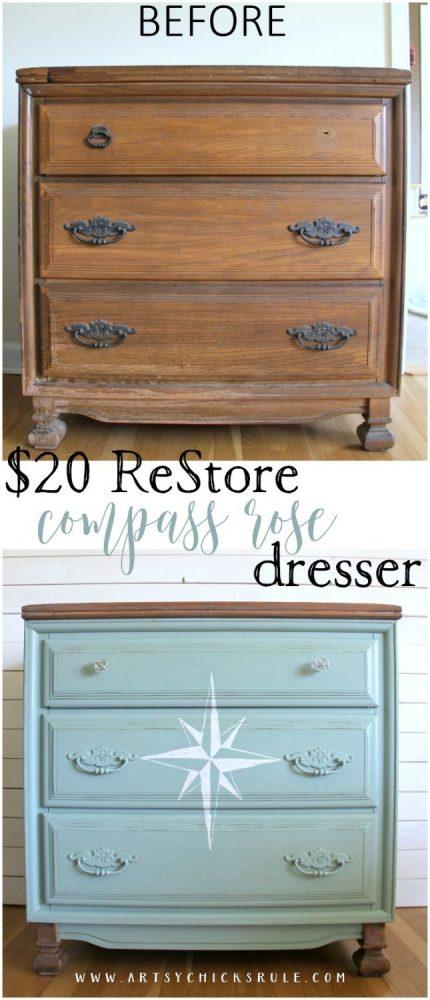 What a STEAL! EASY! $20 ReStore Compass Rose Dresser Makeover!! artsychicksrule.com #compassrose #compassrosedresser #chalkpaintedfurniture