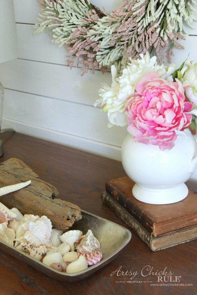 $20 ReStore Compass Rose Dresser Makeover!! artsychicksrule.com #compassrose #compassrosedresser #chalkpaintedfurniture