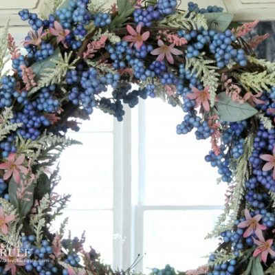 DIY Pink & Blue Easy Spring Wreath (perfect colors for spring!)
