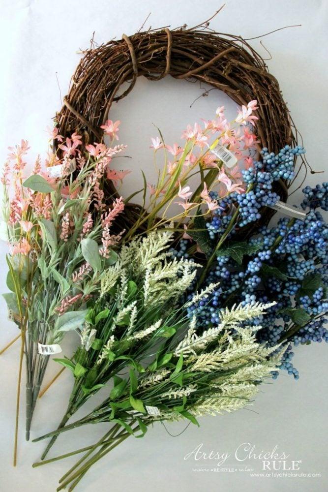 """""""Spring Has Sprung"""" SIMPLE Spring Floral Wreath! artsychicksrule.com #springfloralwreath #springwreath #diywreath #springhassprung #springquotes #springdecor"""